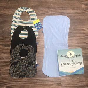 NWOT Kickee Pants Bundle- Bibs, Burp Cloth, & Book
